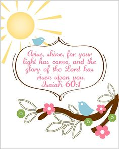 Arise, shine, for your light has come, and the glory of the Lord has risen upon you.....Isaiah