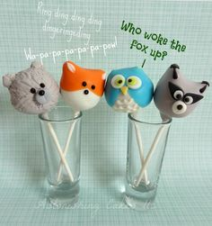 What does a fox say? Woodland animal cake pops by Astonishing Cakes