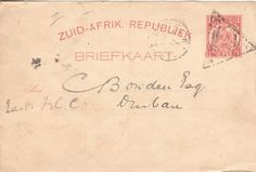 ZAR Briefkaart Utrecht to Durban Natal 1890 with triangular Utrecht cancellation