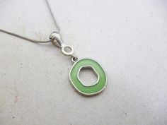 Modern Minimal Silver 18KGP Delicate Circle Necklace http://etsy.me/1yD2E23 @Etsy #Pendant #Disc #Silver #Necklace #Circle #Minimal #Green