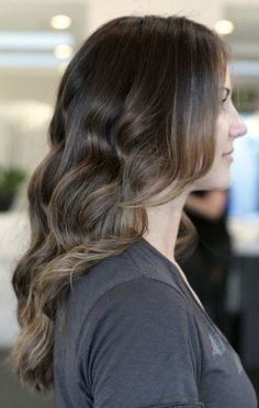 brunette hair color with superfine highlights throughout