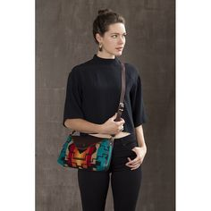 our Nina bag in a bold Pendleton® wool pattern, we call it Taos. There's a limited run of this wool, available in the shop and online. #pendleton #handmade #leatherandwool (at appetitesite.com)