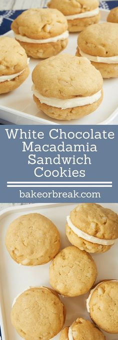 White Chocolate Macadamia Sandwich Cookies are a fun, frosted twist on a classic cookie. That white chocolate frosting is fantastic! - Bake or Break White Chocolate Frosting, White Chocolate Macadamia, Just Desserts, Dessert Recipes, Party Recipes, Dessert Ideas, Baking Recipes, Baby Biscuit Recipe, Lemon Blueberry Cheesecake