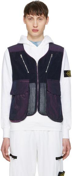Stone Island Shadow Project: Blue Zip-Up Vest | SSENSE