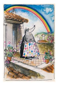 """When Ronald Searle's wife got a rare form of cancer, he made her this beautiful healing love story – 47 jewel-like drawings, full of love, light, and glowing colors, """"to cheer every dreaded chemotherapy session and evoke the blissful future ahead."""" She lived for 40 years after the diagnosis."""