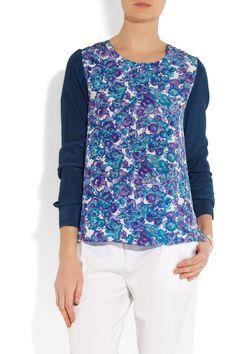 Thakoon Addition|Floral-paneled silk top|NET-A-PORTER.COM