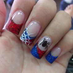 Spiderman nails 2015 - Superhero nail art - Visit to grab an amazing super hero shirt now on sale! Holiday Nail Designs, Cute Nail Designs, Holiday Nails, Marvel Nails, Avengers Nails, Nails For Kids, Girls Nails, Hot Nails, Hair And Nails