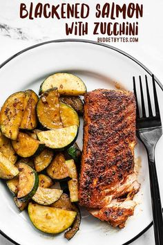 Blackened salmon coated in Cajun spices, cooked to perfection in butter, and paired with simple sautéed zucchini makes a simple but delicious dinner! Budgetbytes.com Egg Free Recipes, Meat Recipes, Seafood Recipes, Vegetarian Recipes, Cooking Recipes, Healthy Recipes, Recipies, Fish Dishes, Seafood Dishes