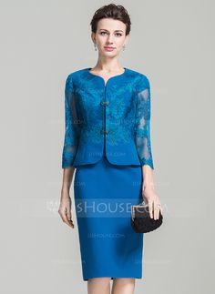 Sheath/Column Sweetheart Knee-Length Lace Beading Zipper Up Sleeves Short Sleeves Yes 2016 Other Colors Spring Summer Fall General Plus Chiffon Mother of the Bride Dress Grandma Dress, Mom Dress, Lace Dress, Blue Wedding Dresses, Bridesmaid Dresses, Bride Dresses, 60 Fashion, Fashion Dresses, Beaded Lace