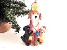 Dog and Puppies Christmas Tree Ornament Golden Retriever Black Lab Figurine