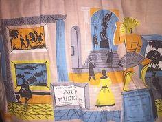 Vintage 50s Rockabilly Pleated Kitschy Art Circle Skirt Detail #50Fashion