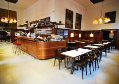the true cafes in vienna - café anzengruber Vienna Cafe, Restaurant Bar, Lights, Places, Table, Inspiration, Furniture, Cafe Interiors, Home Decor