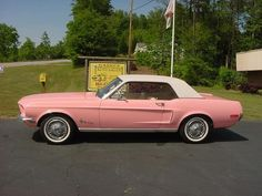 Vintage Mustang - I'm not usually one to care much about the kind of car I drive, but I can certainly envision myself behind the wheel of this car! Pink Mustang, Mustang Cars, Ford Mustangs, Classic Mustang, Ford Classic Cars, Pretty Cars, Cute Cars, Cool Old Cars, Classy Cars