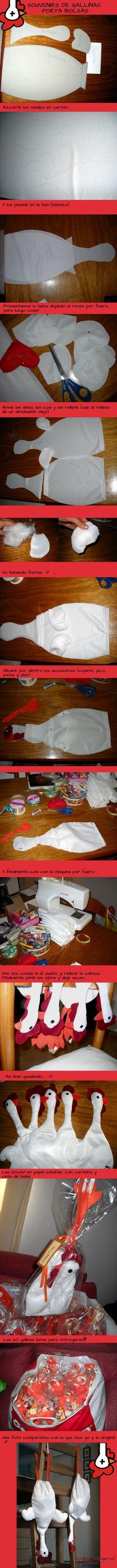 Souvenirs casamiento con gallinas porta bolsas: