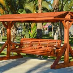 The finest best built Bench Swing Sets on the market. These lovely garden bench swings are truly built to last decades in any weather. Outdoor Wooden Swing, Wood Swing, Backyard Swings, Backyard Playground, Pergola Shade, Pergola Patio, Backyard Garden Design, Backyard Landscaping, Modern Gazebo