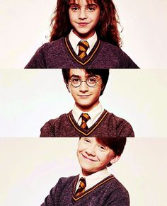 Harry Potter, Ron Weasley and Hermione Granger. They are the golden trio Harry Potter Tumblr, Harry Potter Hermione, Ron Weasley, Harry Potter World, Theme Harry Potter, Mundo Harry Potter, Harry James Potter, Harry Potter Pictures, Harry Potter Universal