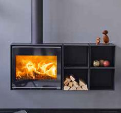 The Scan 1010, modular wall mounted or freestanding wood stove. Based on the Scan 1001.