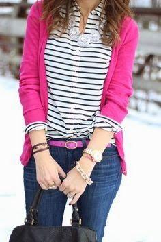 Pinkish sweater and stripes shirt adorable   Fashion World