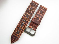 Leather watch strap, Brown watch band 24mm style durable