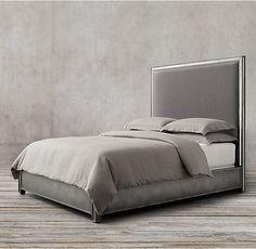 Strand Upholstered Bed without Footboard Antiqued Mirror Bed Without Footboard, Furniture Vanity, Furniture Ideas, Furniture Design, Modern Shop, Upholstered Beds, Bed Upholstery, Metal Beds, Rug Sale