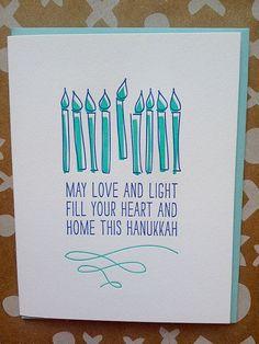 Happy Hanukkah Cards - SET of 6 - Letterpress Hanukkah Card - Love and Light Haunkkah cards