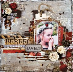 Mojo Monday Sketch layout from the Flying Unicorn using Prima Stationer's Collection, Creative Embellishment chippys and Shimmerz paints and mists