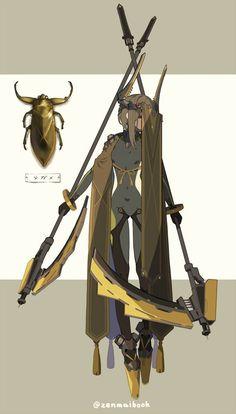 rnrnSource by sardarkwolf Fantasy Character Design, Character Design Inspiration, Character Concept, Character Art, Arte Cyberpunk, Robot Concept Art, Insect Art, Ex Machina, Creature Concept