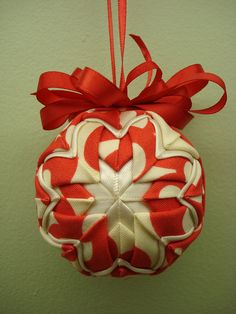 Fabric Folded Christmas Ornament, via YouTube. | Patchwork and ...