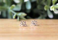 Lotus stud Earring Lotus Flower Sterling Silver by JCoJewellery