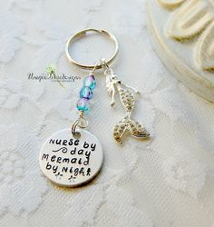 Nurse Key Chain Mermaid Key Chain Gift For Nurse Vday Gift Hand Stamped Key Chain Gift for Her Valentine's Day Gift Sea Key Chain (17.95 USD) by Unique2chicdesigns