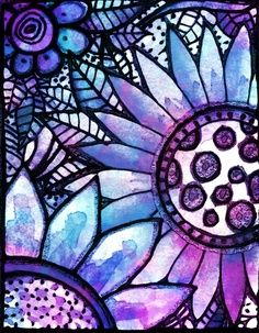 Stained Glass Art ~ Purple and Blue