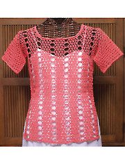 Up to 3x - Crystal Top- Create a layered look with this beautiful lacy crocheted top. It is made using 3 (4, 5) skeins of Omega Eulali. Sizes S--M (L--XL, 2X--3X). Sample shown was made using Coral. Skill Level: Intermediate to Experienced