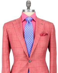 Kiton | Coral with Red Windowpane Sportcoat | Apparel | Men's