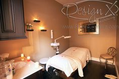 facial room - great small chair for clients and candles set the mood for relaxation