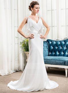 [138.91 €] Forme Sirène/Trompette Col V Traîne moyenne Mousseline Robe de mariée avec Emperler Sequins Robe à volants