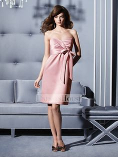 A-line Strapless Sweetheart Neckline with Ribbon Knee Length Soft Satin Bridesmaid Dress BD10237