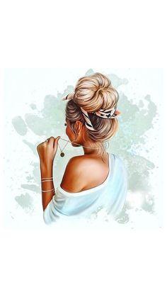 Girl Face Drawing, Cute Girl Drawing, Beautiful Girl Drawing, Girl Cartoon, Cartoon Art, Molduras Vintage, Girly M, Girly Drawings, Cute Girl Wallpaper