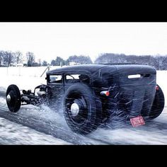 Driving a rat rod in the snow... Sketchy... Ain't No Fair Weather Driver