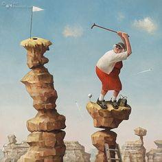 Art Card Hit it Granny! by artist Marius van Dokkum. Art Revisited online store for affordable Art! Art calendars, Art books and Giclées. Satirical Illustrations, Golf Art, Art Calendar, Artist Brush, Dutch Painters, Dutch Artists, Funny Art, Painting Techniques, Museum