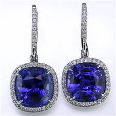 JB Star - These timeless and elegant diamond and sapphire earrings will be a permanent addition to your jewelry collection. The deep blue 10.61 ct. tw. center radiant cut sapphires beauty is further elevated by the delicate border of .40 ct. tw. small round cut diamonds.