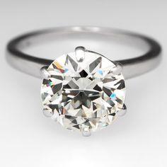 3 Carat Diamond Old Euro Antique Engagement Ring
