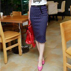 Stylish Style High-Waist Design Polka Dot or Solid Color Women's Spring Skirt With BeltSkirts   RoseGal.com