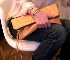 Tan Leather Clutch.