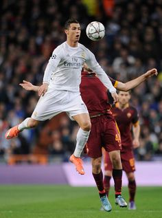 Cristiano Ronaldo of Real Madrid wins the ball from Kostas Manolas of Roma during the UEFA Champions League Round of 16 Second Leg match between Real Madrid and Roma at Estadio Santiago Bernabeu on March 8, 2016 in Madrid, Spain. (Jan. 13, 2009 - Source: Denis Doyle/Getty Images Europe)