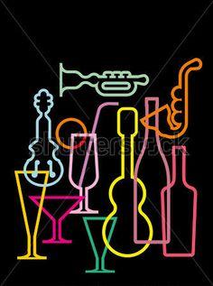 Siluetas musicales y copas en neón