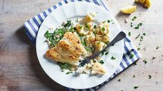 Image: Pan fried haddock with creamy mustardy spring greens and herby new potatoes