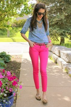 pink pants, chambray denim shirt, leopard print flats
