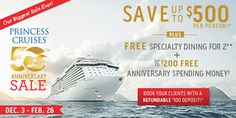 Our Biggest Sale ever!  Save up to $500 per person* plus Free Specialty dining for 2** and up to $200 Free Anniversary Spending Money‡