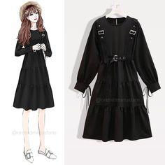 Modesty Fashion, Kpop Fashion Outfits, Girls Fashion Clothes, Girl Fashion, Fashion Drawing Dresses, Korean Fashion Dress, Fashion Dresses, K Fashion Casual, Dress Design Sketches