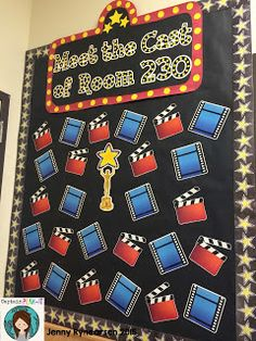 """This year, I have decided to go with a Hollywood theme in my classroom! It will be my first year having a """"theme"""" . Stars Classroom, 3rd Grade Classroom, Classroom Bulletin Boards, Classroom Displays, Classroom Themes, Classroom Organization, Classroom Objectives, Door Displays, School Displays"""